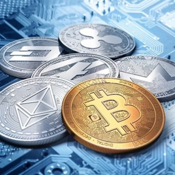 stack of cryptocurrencies: bitcoin, ethereum, litecoin, monero, dash, and ripple coin together, 3D rendering.